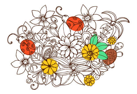 doodle image with flowers, turtle and bugs