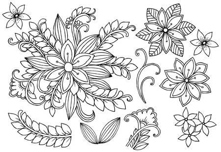 Conjunto De Flores Blancas Y Negras. Página De Elementos De Diseño ...