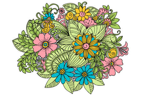 Vintage card with doodle flowers