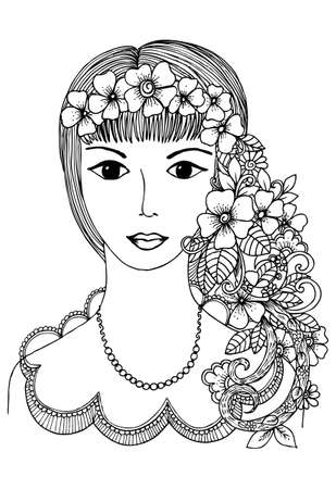 Vector flowers doodle and girl in black and white
