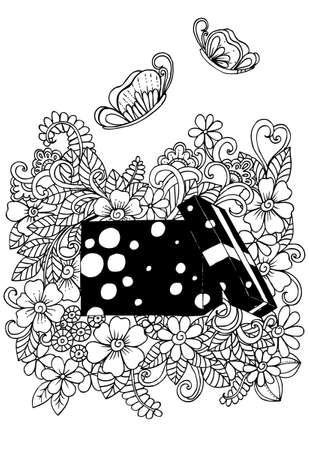 Doodle flowers and butterfly in gift box