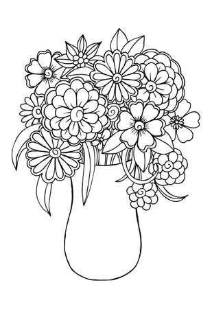 Flowers in vase for coloring Illustration
