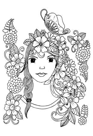 Vector flowers doodle and girls face in black and white for adult coloring book Illustration