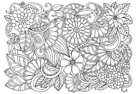 白と黒の花柄を落書き。塗り絵のページ