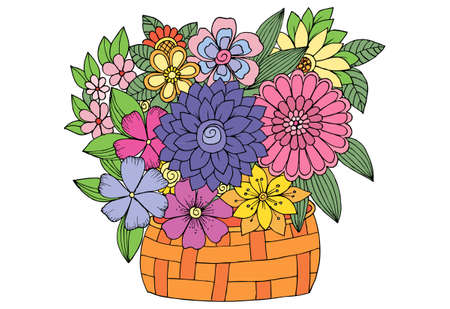 Bouquet of flowers in a wood basket. Vector doodle floral image