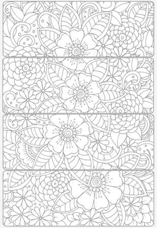 dcor: Vector set of decorative monochrome bookmarks Illustration