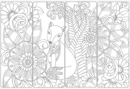Cute fox and floral doodles for coloring.Vector set of monochrome bookmarks .