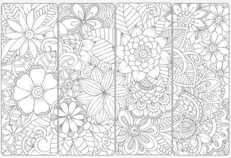 cartoon adult: Floral doodles for coloring.Vector set of monochrome bookmarks .