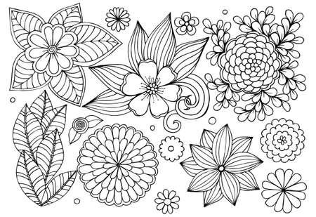 낙서 꽃 요소 디자인 또는 채색의 집합