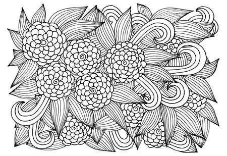 Página Para Colorear Libro. Doodle Del Estampado De Flores En Blanco ...