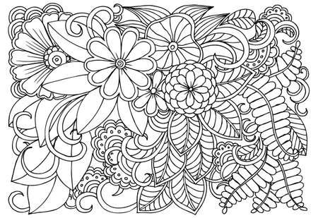 Doodle Patrón Floral En El Fondo Blanco Y Negro. Para Colorear Libro ...