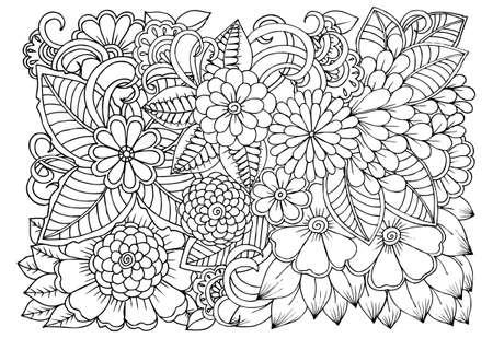 Garabato Estampado De Flores En Blanco Y Negro. Página Para Colorear ...