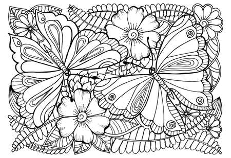 Vector drawing of butterflies and flower pattern for coloring. Stock Illustratie