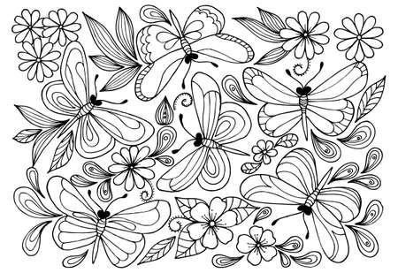 Patrón De Flor Blanco Y Negro Con Mariposa Para Colorear Para ...