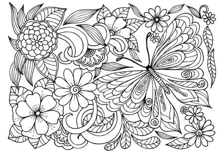 Black and white flower pattern with butterfly for adult coloring book.