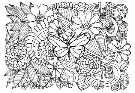 Black and white flower pattern with butterflies for adult coloring book. Vektorové ilustrace