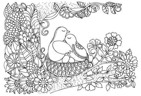 鳥と花です。黒と白の図面を落書き  イラスト・ベクター素材