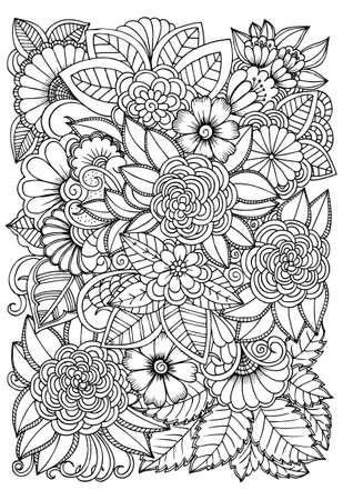 着色の黒と白の花模様。落書き花図面。芸術療法の着色のページ。すべての年齢のためのリラックス。大人と子供のため