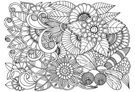 Patrón De Flores Blanco Y Negro Para Colorear. Garabatos Dibujo ...