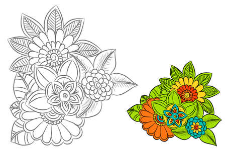 Black and white flowers as design element. Can use for coloring book and print