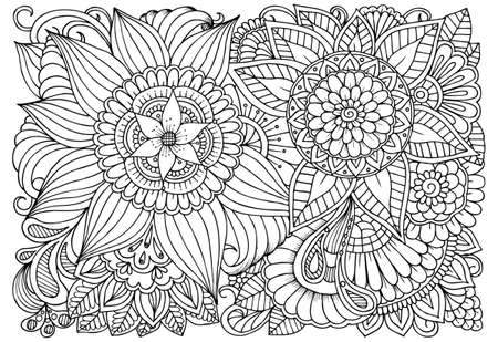 Doodle Floral Drawing Art Therapy Coloring Page Royalty Free
