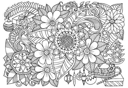 Floral pattern black and white for coloring. Xmas illustration for adult coloring book