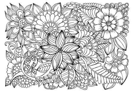 Dibujo Para Colorear De Flores Monocromáticas Para Colorear Para ...