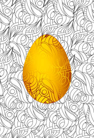Gold easter egg and seamless monochrome abstract pattern for coloring book.