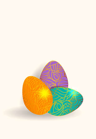 Vector set of  color easter eggs with gold chic pattern isolated on a white background.  イラスト・ベクター素材