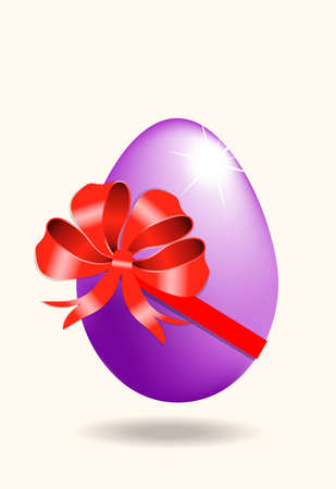 Vector  easter eggs with red ribbon isolated on a white background.