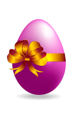 Vector  easter  color egg with gold ribbon isolated on a white background.
