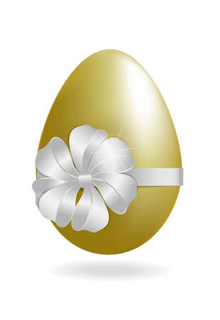 Vector easter egg with white satin ribbon isolated on a white background.