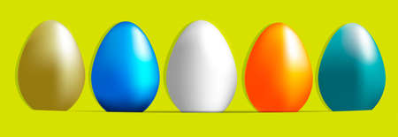 Vector set of  color easter eggs isolated on a joyful background.