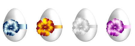Vector easter eggs set with luxury ribbons  isolated on a white  background.  イラスト・ベクター素材
