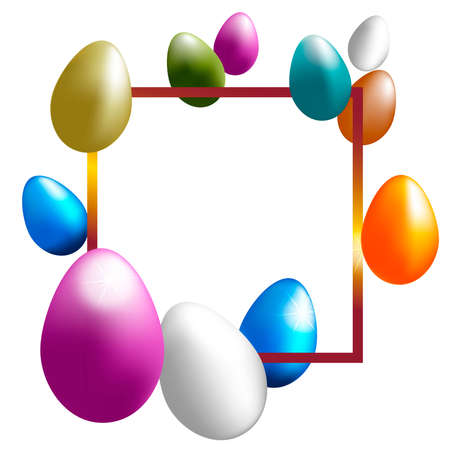 Festive vector golden frame with easter color eggs on a white background