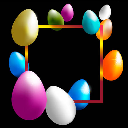 Festive vector golden frame with easter color eggs on a black background  イラスト・ベクター素材