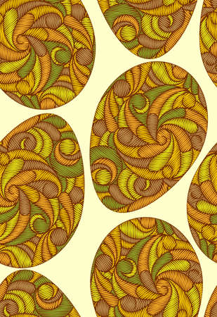 Vector seamless pattern in easter motive. Colorful Easter eggs pattern.  イラスト・ベクター素材
