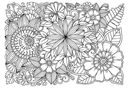 Zwart-wit bloemenpatroon voor volwassen kleurboek. Doodle bloemen tekening. Kunsttherapie kleurplaat.