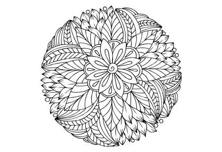 Black and white flower pattern for adult coloring book. Doodle drawing. Art therapy coloring page. Mandala