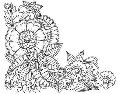 Black and white flower corner pattern for coloring, or design books,cards