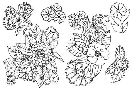 Set of black and white floral design elements. Can use for coloring book and print