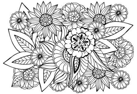Motivo floreale in bianco e nero per libro da colorare per adulti. Doodle disegno floreale. Pagina da colorare di arteterapia.