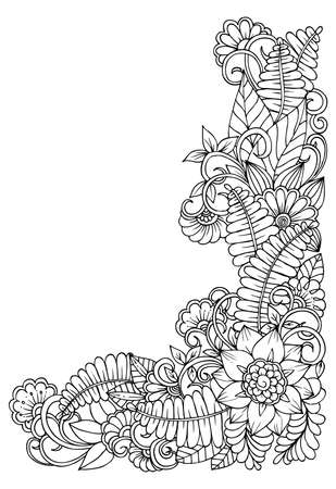 Black and white flower corner pattern for coloring book