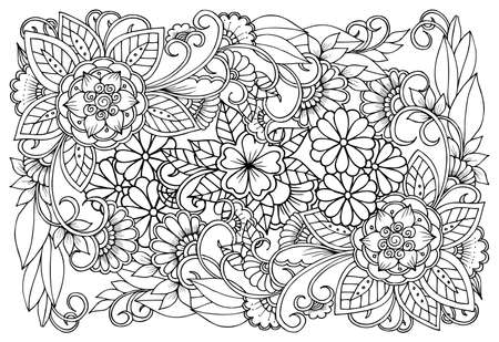 Beautiful floral pattern in black and white. Can use for print , coloring and card design