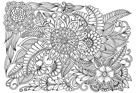 Flower pattern in black and white. Can use for print , coloring and card design
