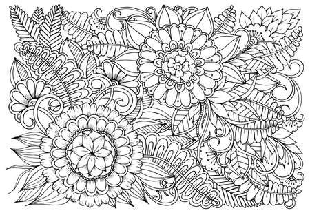 Blumenmuster in Schwarzweiss. Kann für Druck, Färbung und Kartendesign verwendet werden