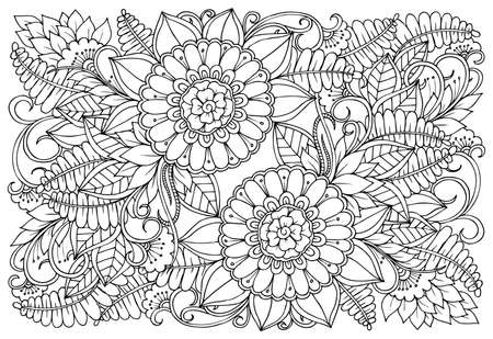 Flower pattern in black and white. Can use for print , coloring and card design Reklamní fotografie - 123511259