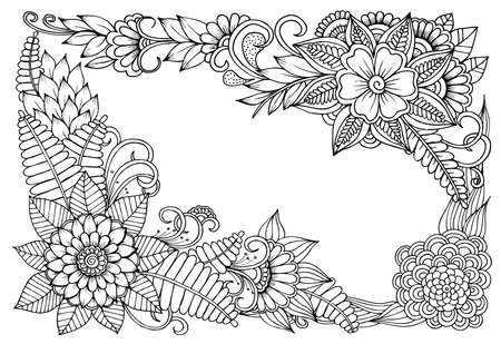 Vector floral frame in black and white. Can use for coloring and as design element for decoration  イラスト・ベクター素材