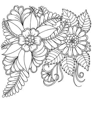 Black and white flower pattern for adult coloring book. Doodle floral drawing. Art therapy coloring page.  イラスト・ベクター素材