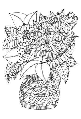Flower bouquet  in the vase. Black and white drawing. Can use for print , coloring and card design  イラスト・ベクター素材
